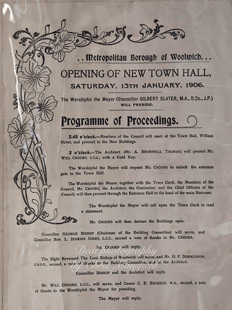 January 1906 .. Flyer advertising the opening of the town hall