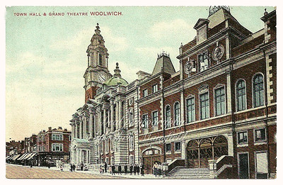 1906 Postcard .. Town hall and Grand theatre