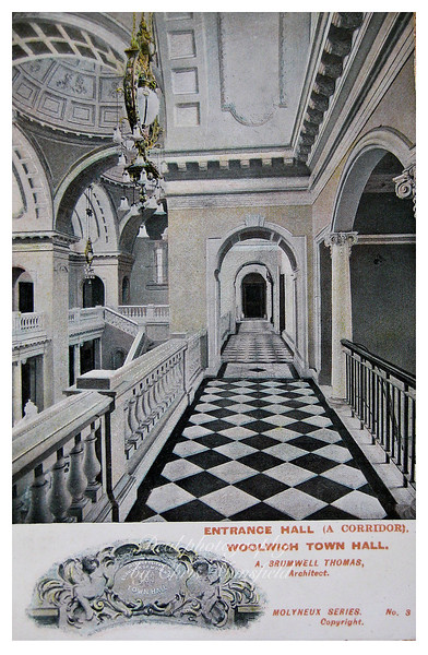 Early Postcard showing town hall interior