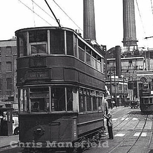 Approx'  late 1940s.... An Electric tram on Woolwich high street