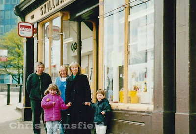 Chris Skillman ( left ) with his wife Freda, Sister Sheila and his niece and Nephew outside the shop at 108 Woolwich high street