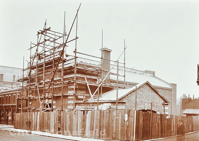 "Early 1900s.  The ""Tramshed""  substation under construction"