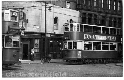 Corner of Woolwich New road plus the Mortar pub and electric trams