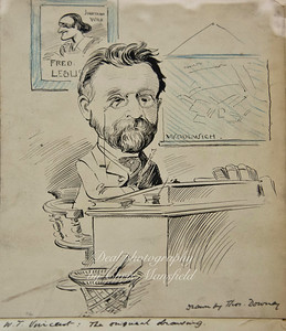 Cartoon of William Vincent published in a Victorian comic called Ally Slopers half holiday