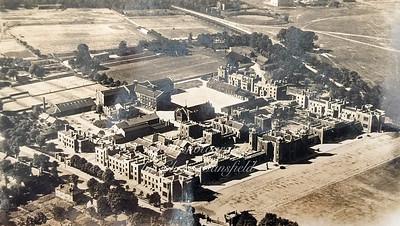 Early postcard.  RMA aerial view