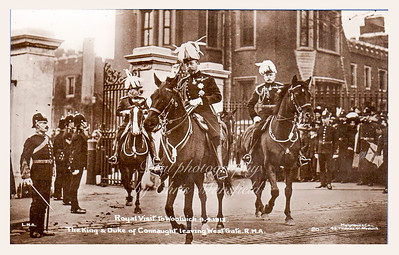 April 9th 1913.  King George 5th and the duke of Connaught  leaving the west gate of the Royal military academy on a day when they visited several areas of Woolwich