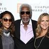 Actor Morgan Freeman (C) and Producer's Guild of America President Lori McCreary (R) attend the 43rd Chaplin Award Gala on April 25, 2016 in New York City.<br /> Credit: John Nacion Imaging