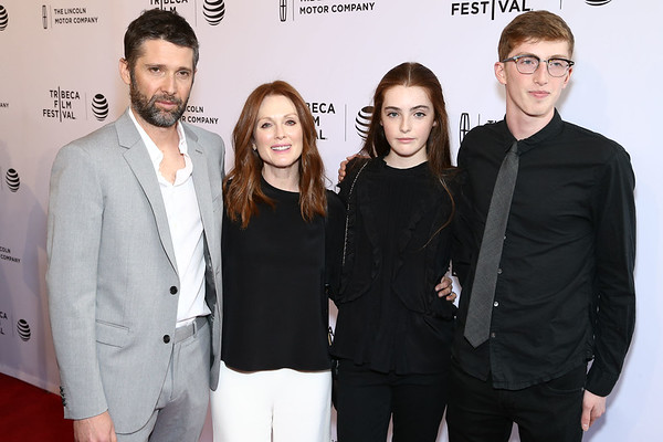Director Bart Freundlich, Julianne Moore, Liv Freundlich and Caleb Freundlich attend the 2016 Tribeca Film Festival 'Wolves' premiere at SVA Theatre on April 15, 2016 in New York City.