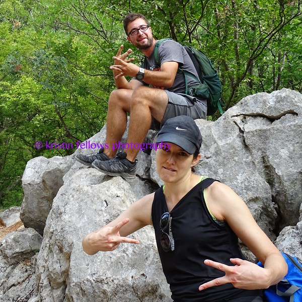 in case you are wondering whether or not I am able to nimbly scale these mountains, the answer is unfortunately, no. Between grabbing photographs and a limited lung capacity, I am usually in the 'sweep' position on any given hike. Here's H and Steph waiting for me to catch up, doing a little 'what took you so long' hip hop 🤣 🤣 Luckily, I had my camera ready 😎