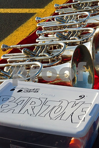 Photo by Shannon Wilson / Tyler Morning Telegraph Baritones lay on a blanket in preparation for use later during band practice at Robert E. Lee High School.