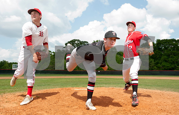 photo by Sarah A. Miller/Tyler Morning Telegraph  Robert E. Lee pitchers J.D. Cobb,  Zach Flanagan, and Ross Himes have keyed team's success.