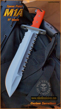 "Spear Point 11"" Blade custom serrations"