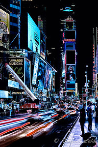 All of Times Square at night seems solarized.