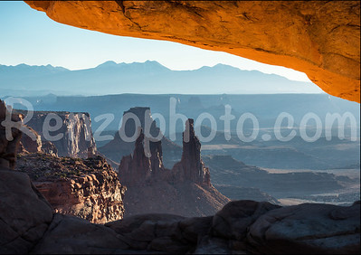 Detail of Mesa Arch, Canyonlands National Park at sunrise