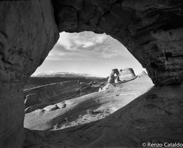 Delicate Arch, black and white