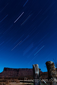 Star trails along the red rocks