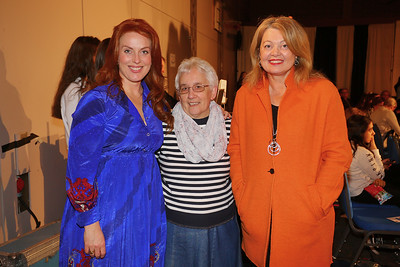 Star of Fair City and Dancing with the Stars and host for the evening Clelia Murphy with Sr Zoe Killeen(Daughters of Charity) and Eileen Cuddihy Higgins(Principal Mount Sackville) at a charity fashion show at Mount Sackville Secondary School in aid of RESPECT. The show featured clothes from local boutiques modelled by transition year students, teachers and Daughters of Charity service users.