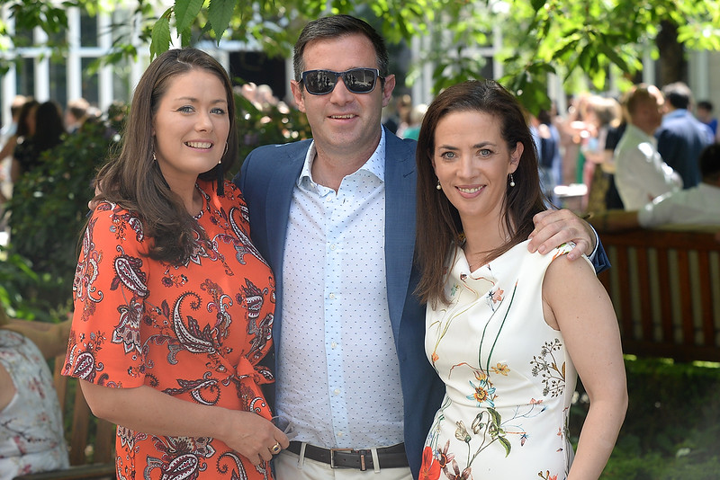 09/06/18. Tommy and Niamh O'Reilly with Susie O'Connor at the Summer Respect lunch at the Intercontinental hotel in Dublin. Pic: Justin Farrelly