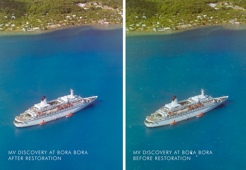 MV DISCOVERY AT BOIRA BORA, AERIAL VIEW
