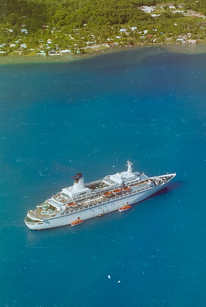 MV DISCOVERY AT BORA BORA, AERIAL VIEW