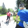 water break…Holly Hutt Kelly in blue, Arlene Norman in red