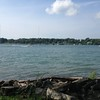 Niagara River view where the bike tour began and ended.  Notice the puff along the right of the picture/the falls.