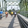 Bridge Crossing in Tonawanda…Rick Smith in Blue, Sherry West Smith '70 in orange, Jack Kozuchowski '70 in yellow