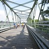 Beginning of the bike tour crossing a bridge in Tonawanda