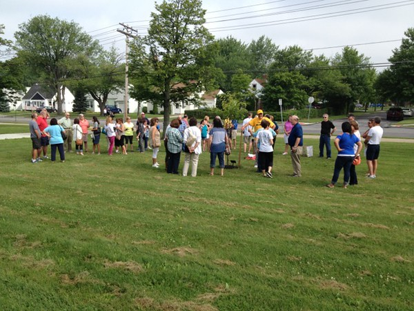 Gathering for Memorial Tree Ceremony