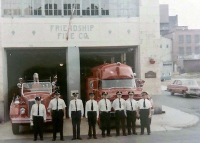 """Members of the Friendship Fire Company pose on the morning of Labor Day 1967. Photos provided by the family of Zenith """"Skip"""" Ludwig."""