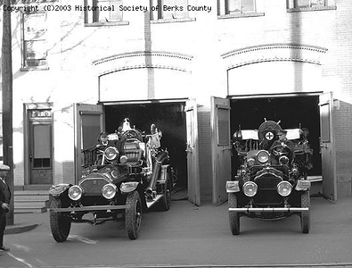 Engines 4 & 4-A, photo from the Berks County Historical Society.