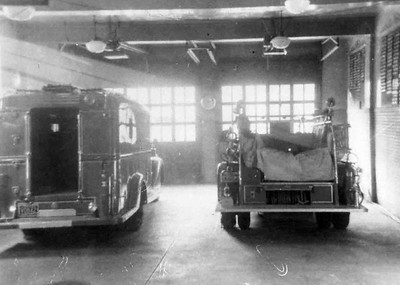 Inside the Friendship Fire Station looking towards Franklin Street. Photo by William H. Rehr III, 1957. Scanned by Anthony Miccicke.