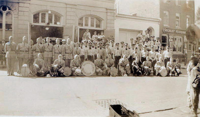 Junior Fire Company & Band, picture taken in front of firehouse on Walnut street.