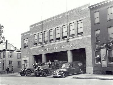 (Left) 1925 American LaFrance pumper (Center) 1928 Seagrave 750 gpm pumper (Right)