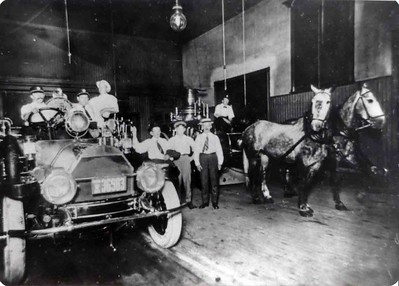 A rare photo inside the Junior Fire Company house sometime in the early 1900's. Photo courtesy William Rehr III, scanned by Anthony Miccicke,