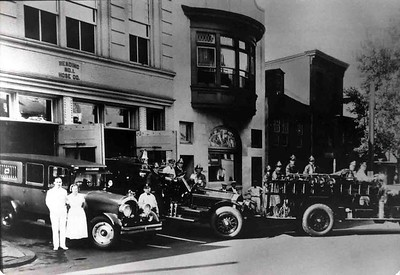 1920's shot of the Fire Company and apparatus. Photographer unknown, scanned by Anthony Miccicke.
