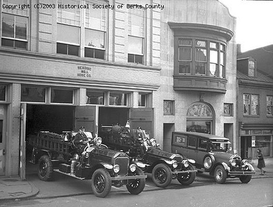 Taken in 1930 in preparation for the State Fireman's Convention. Photo by Earl R. Anderson. Photo from Berks County Historical Society.