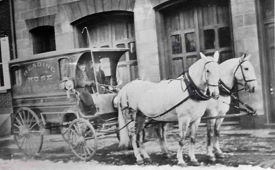 The company's ambulance in front of the building in 1893.