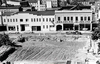 Preparing the east side of North 3rd Street for construction of quarters for the Neversink and Keystone Fire Companies in 1962. Photo courtesy of Al Batastini, scanned by Anthony Miccicke.