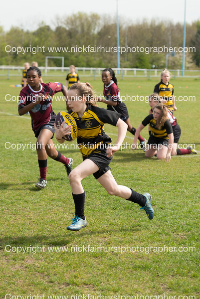 "RFL Champion Schools North West, Year 7 Girls:  St Peter's (Wigan) (yellow and black) v St Peter's (Manchester), at Crosfields ARLFC, Warrington, on Thursday 21st April 2016.  Picture by  <a href=""http://www.nickfairhurstphotographer.com"">http://www.nickfairhurstphotographer.com</a>"
