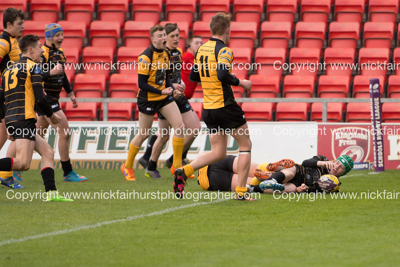 "RFL Champion Schools National Year 11 Boys Final, St Peter's 36 v 26 Castleford Academy, Leigh Sports Village Stadium,  Tuesday 26th April 2016.  Picture by  <a href=""http://www.nickfairhurstphotographer.com/RFL"">http://www.nickfairhurstphotographer.com/RFL</a>"