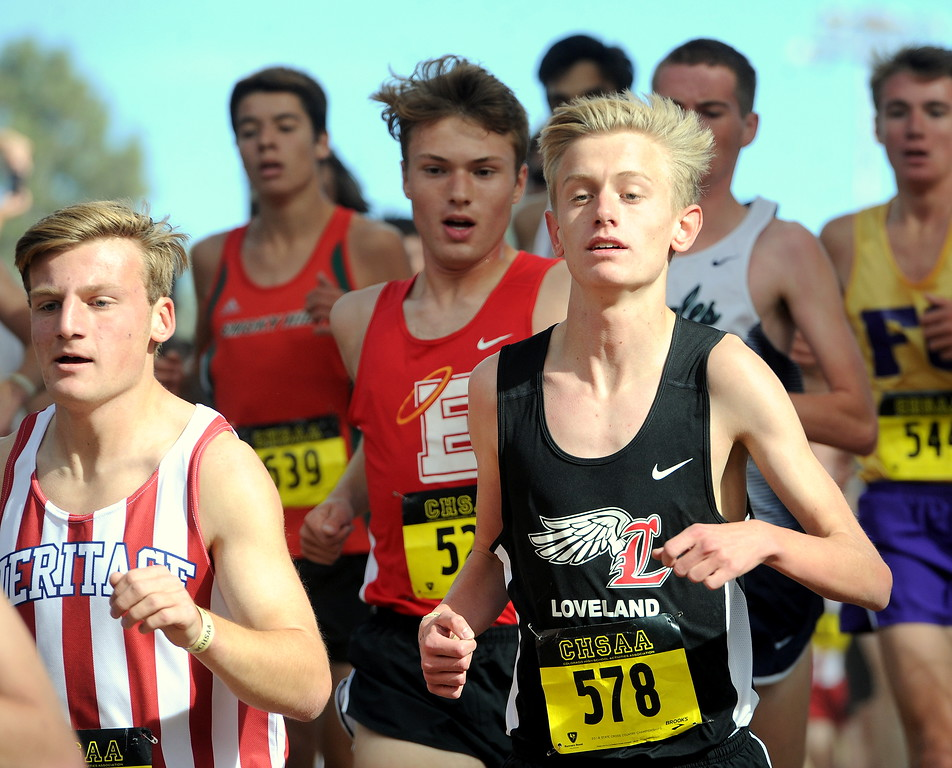 . Loveland senior Lucas Westbrook looks for room in the pack of the 5A boys State Cross Country Meet on Saturday at the Norris-Penrose Event Center in Colorado Springs. (Colin Barnard/Loveland Reporter-Herald)