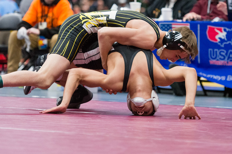 Thompson Valley's Airiel Siegel competes during the 4A state wrestling tournament Saturday Feb. 17, 2018 at the Pepsi Center in Denver. (Cris Tiller / Loveland Reporter-Herald)