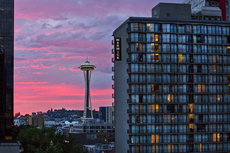 Warwick Sunset with Space Needle