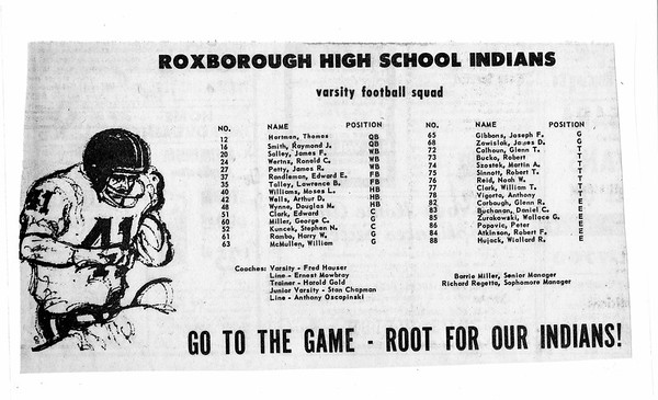 1965 Football roster newspaper