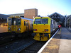 14th Oct 2012 <br /> <br /> Southport <br /> <br /> MPV <br /> <br /> 98904 / 98954 <br /> <br /> sits next to Merseyrail unit 507 027 in the siding on <br /> <br /> 3S57 15.03 Wigan - Wigan via the world on the Merseyrail