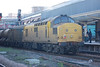 97 303 growls away on the rear as the train creeps out of Chester