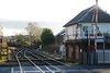 Nunthorpe signal box and 66 427 <br /> <br /> Now leading waiting to return back to the station