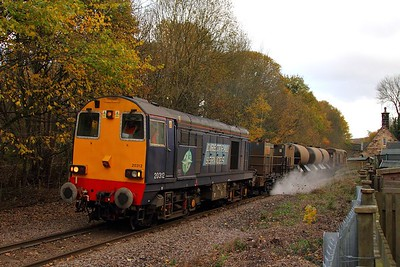 20312 tnt 20301 at Oughtibridge on the Deepcar line with 3S14 1131 Sheffield to Wakefield Kirkgate on the 8th November 2012