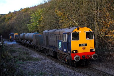 20301 tnt 20312 at Oughtibridge on the Deepcar line with 3S14 1131 Sheffield to Wakefield Kirkgate on the 8th November 2012
